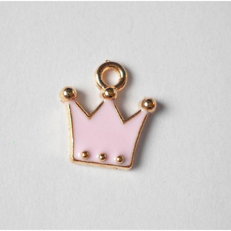 Rózsaszín korona zománcos charm