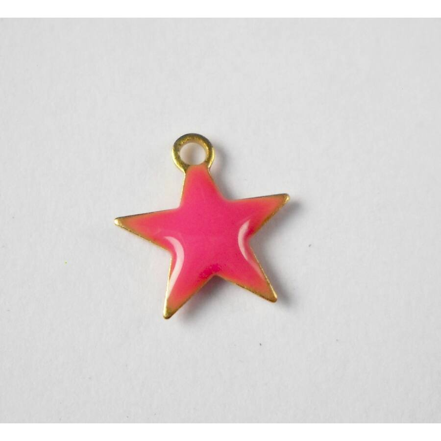 Pink csillag zománcos charm