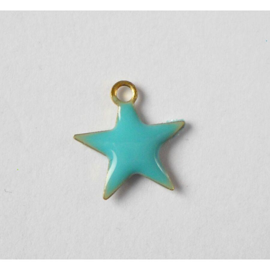 Türkiz csillag zománcos charm