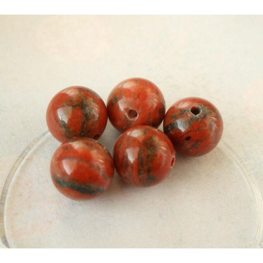 Vörös jáspis ásványgyöngy 6mm 10db