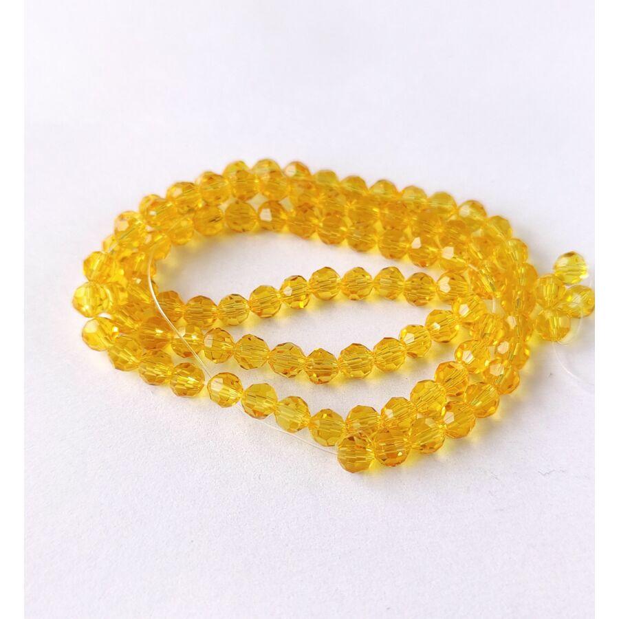 Gömb gyöngy 4mm  füzérben sárga