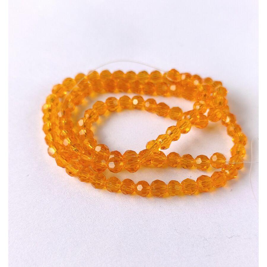 Gömb gyöngy 4mm  füzérben narancs