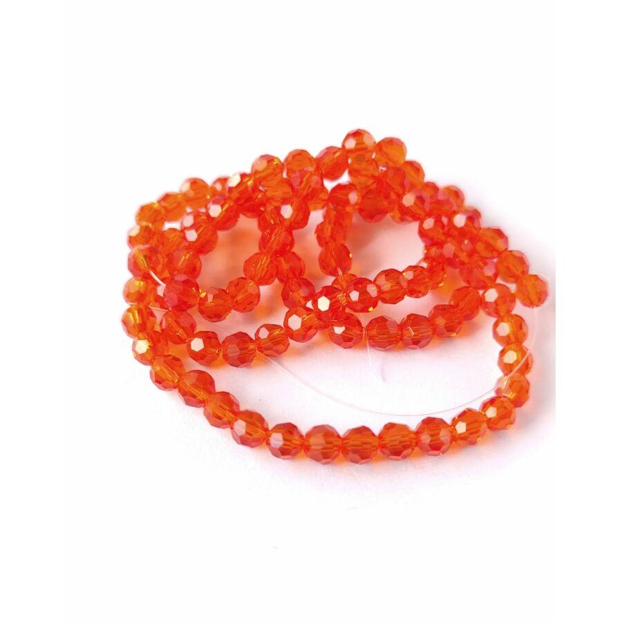 Gömb gyöngy 4mm  füzérben sötét narancs