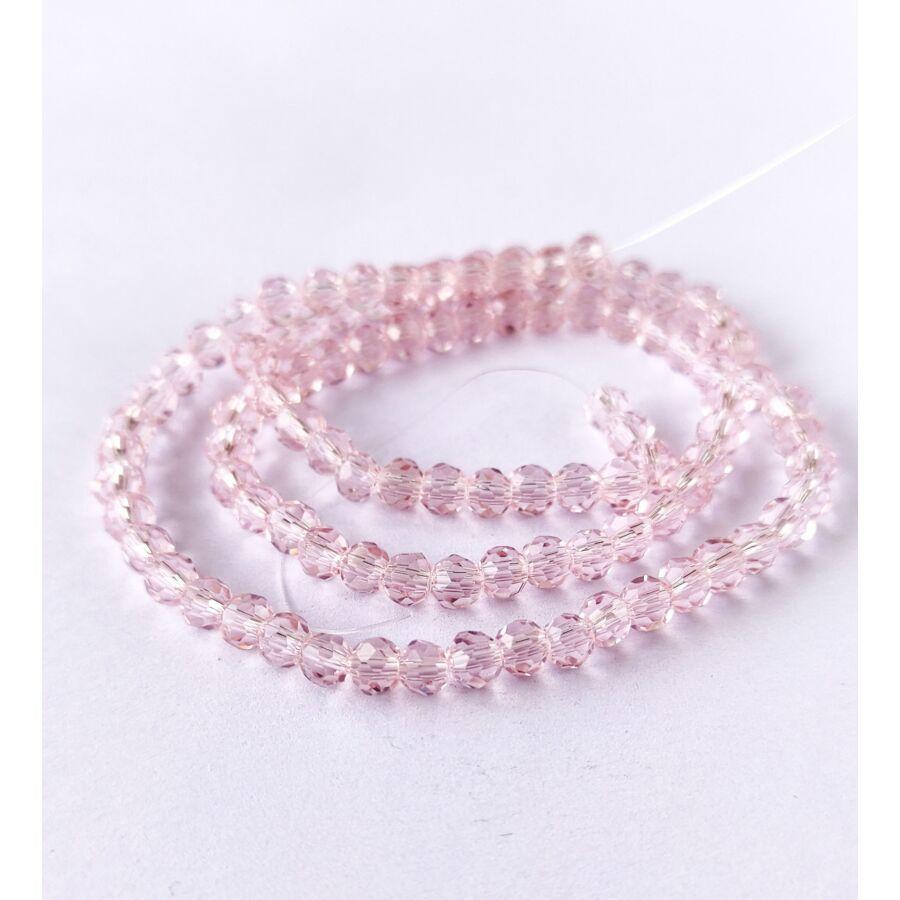 Gömb gyöngy 4mm  füzérben rózsaszín