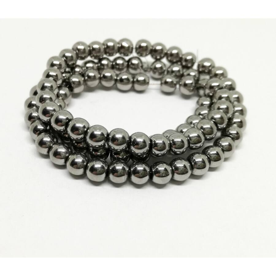 Metál gömb gyöngy 4mm ezüst 25db