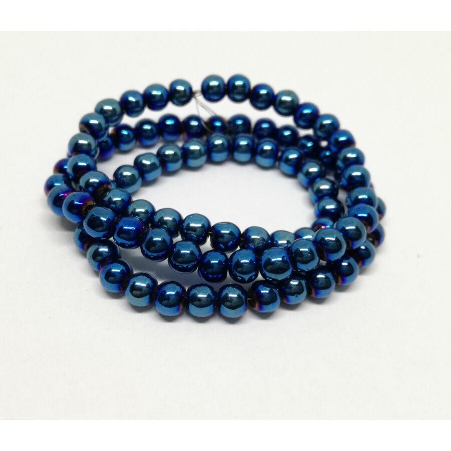 Metál gömb gyöngy 4mm kék 25db