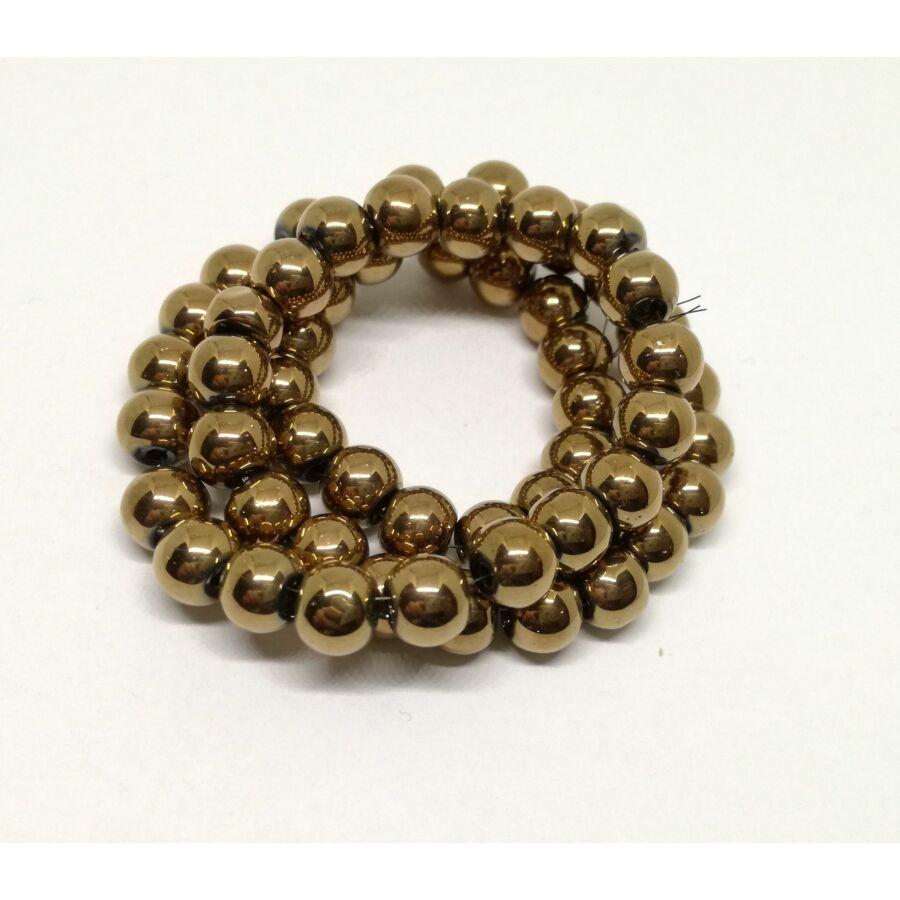 Metál gömb gyöngy 6mm bronz 20db