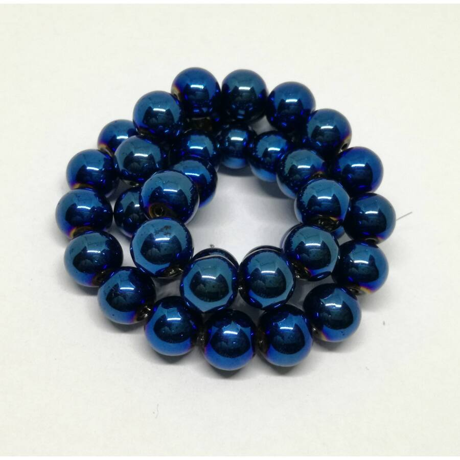 Metál gömb gyöngy 8mm kék 10db