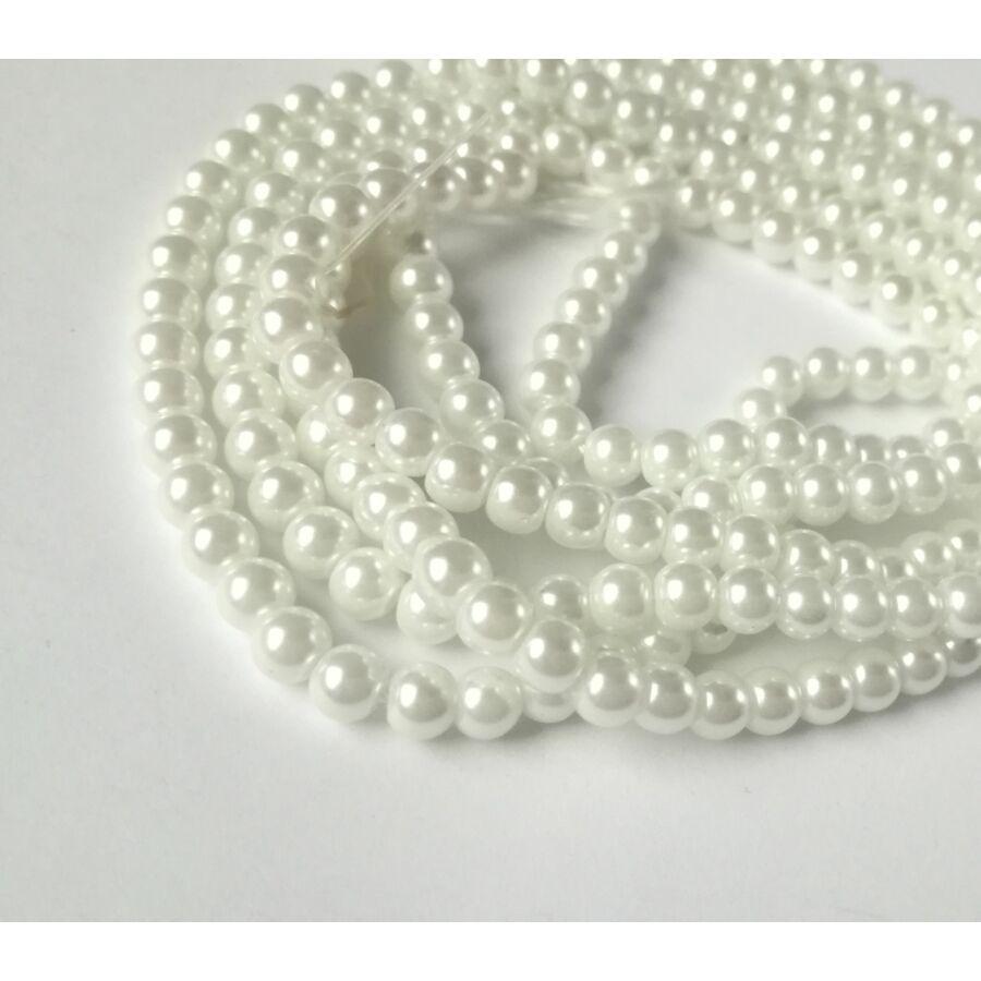 Üveg tekla gyöngy 4mm fehér 25db
