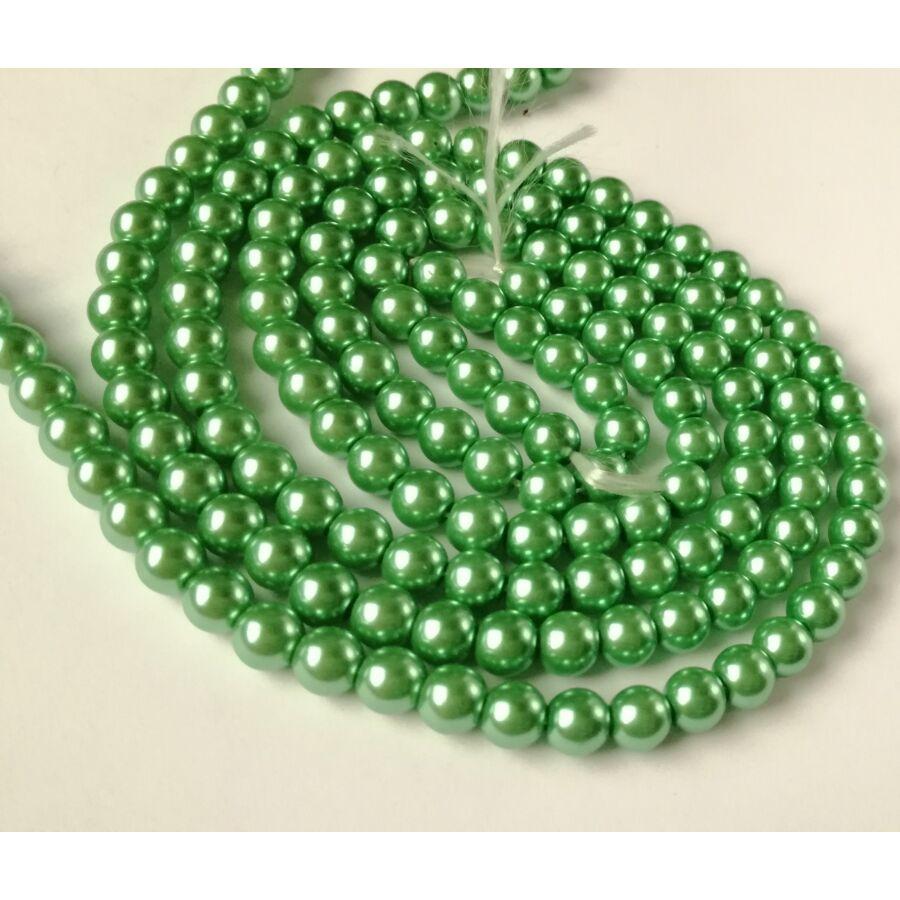 Üveg tekla gyöngy 6mm zöld 20db