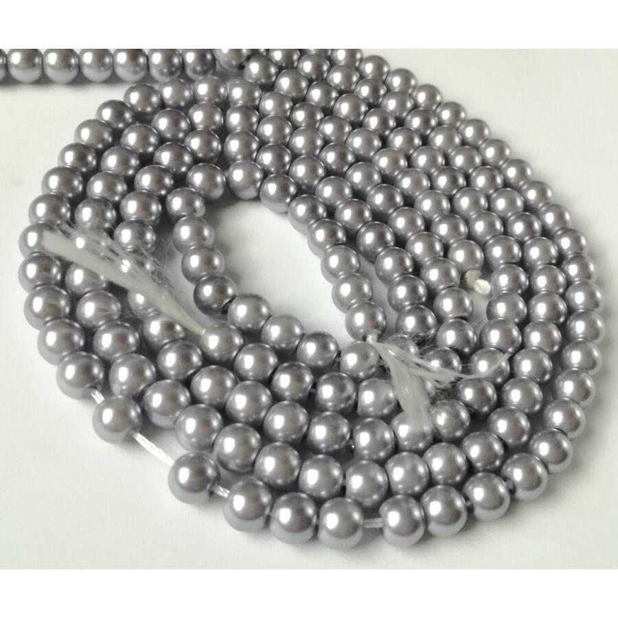 Üveg tekla gyöngy 6mm ezüst lila 20db