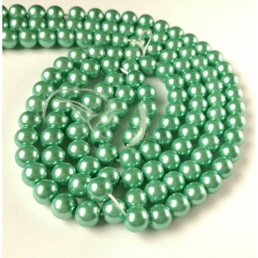 Üveg tekla gyöngy 8mm zöld 10db