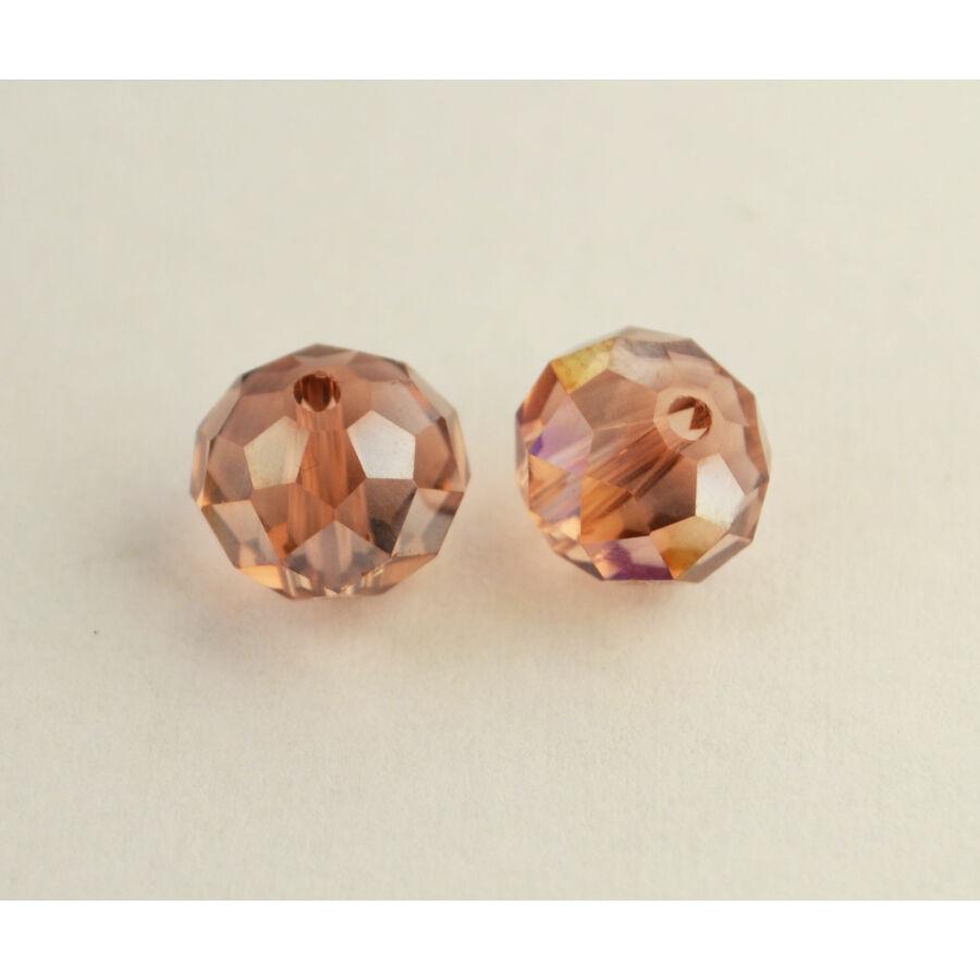Színjátszós abacus gyöngy 10x7mm rózsaszín