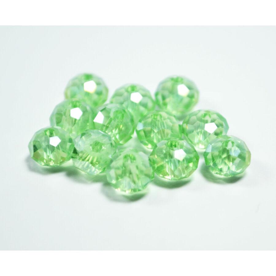 Színjátszós abacus gyöngy 8x6mm világos zöld 10db