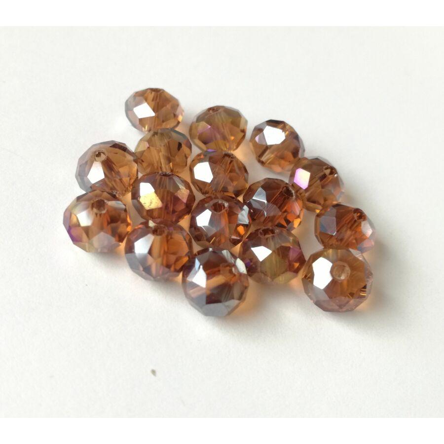 Színjátszós abacus gyöngy 8x6mm barna 10db