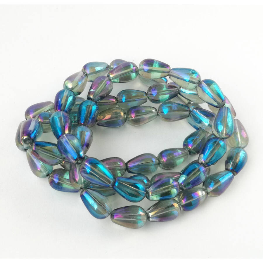 Színjátszós csepp üveggyöngy 13x9mm szürke-kék