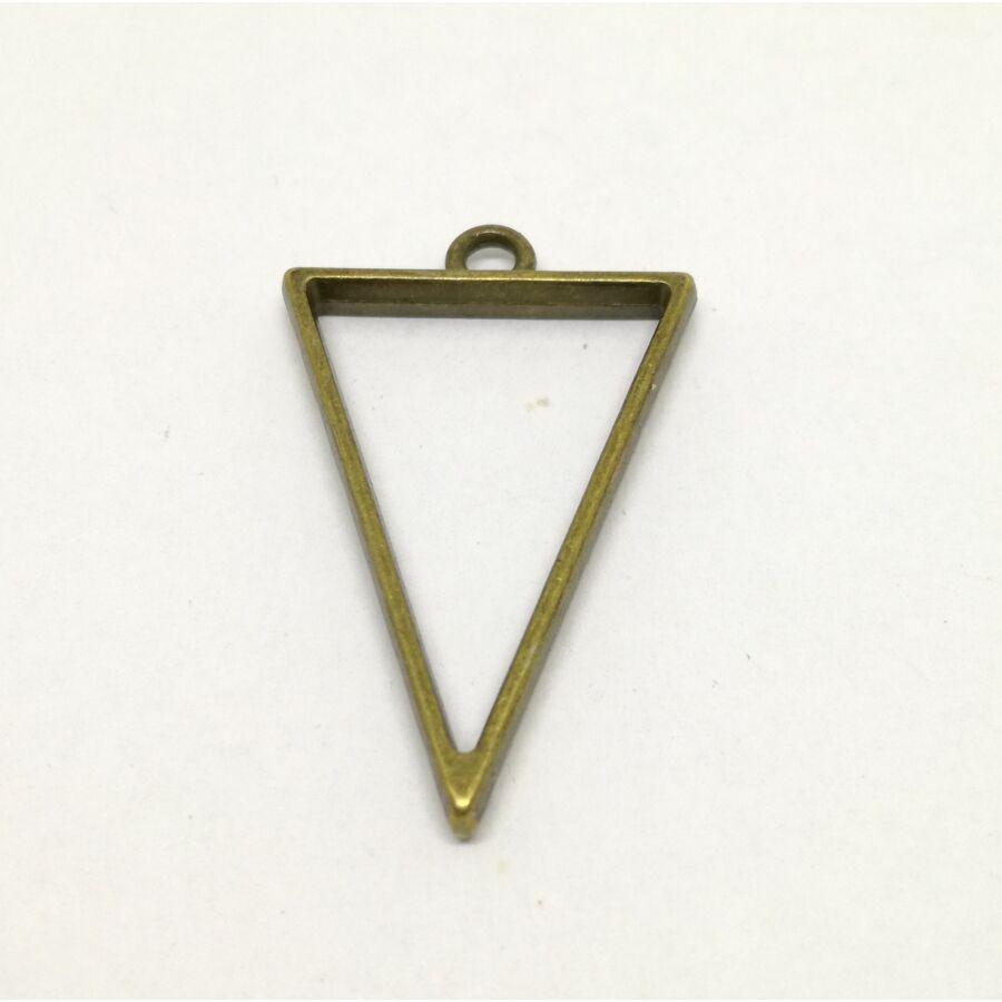 Háromszög medál keret műgyantához antik bronz