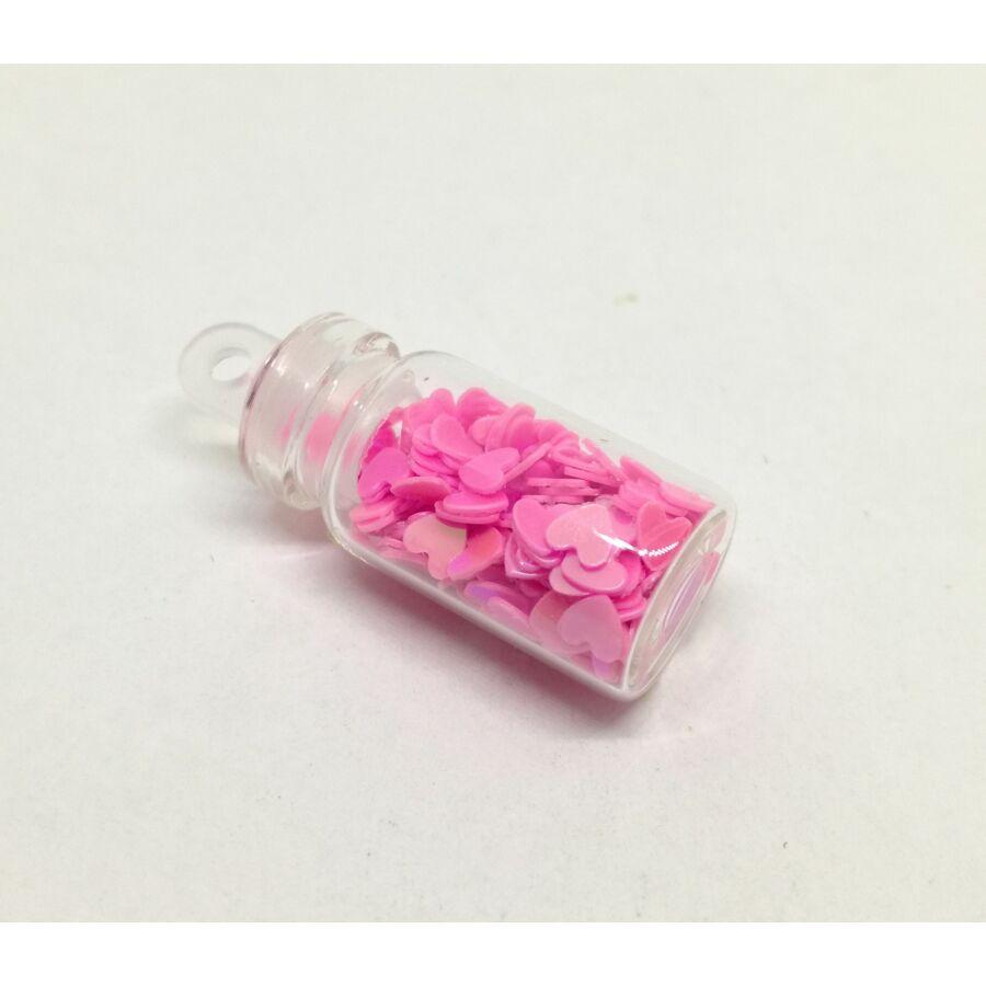 Rózsaszín irrizáló szív glitter